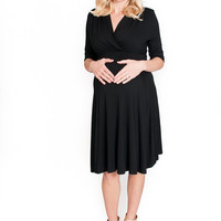 Black Tie Back Maternity Dress