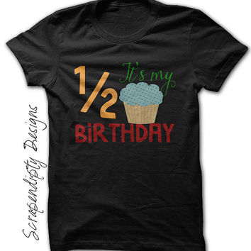 Half Birthday Shirt - 1/2 Birthday Outfit / Boys 6 month Shirt / Toddler Half Birthday Party / 2T 3T Clothes / Boys Birthday Clothing / Tee