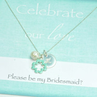 Will You Be My Bridesmaid Card and Gift, Bridesmaid Gifts and Favors, Tiffany Blue Enamel Gifts