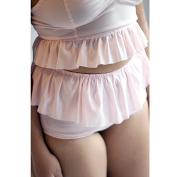 Ruffle Ballet Pink Power Mesh High Waisted Panties