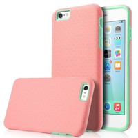ULAK iPhone 6s Plus Case (5.5 inch),Phone 6 Plus Case, [SLICK ARMOR] Hybrid Hard Cover Case (Baby Pink/Grey)