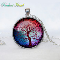 TREE OF LIFE Pendant  Tree of life Necklace Red Green Yellow Silver Jewelry Necklace for him  Art Gifts for Her(P3H05V05)