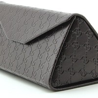 Gucci Tri-fold Leather Glasses Sunglasses Case w/Cleaning Cloth, Large