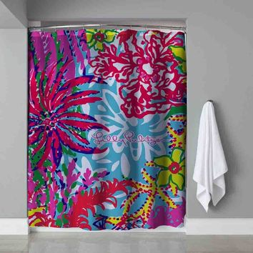"Lilly Pulitzer Colorful Coral Custom Shower Curtain 60"" x 72"" Limited Edition"