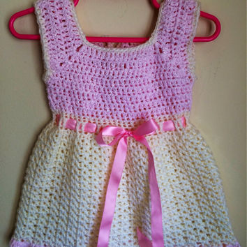 Crochet Handmade Toddler Summer Sundress Pink and Cream with Bow