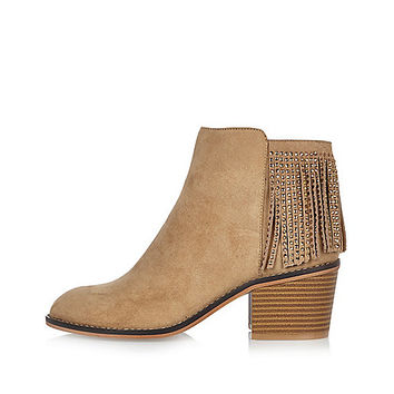 Light brown diamanté fringed boots - boots - shoes / boots - women