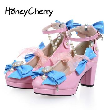 Japan's New sweet Heels Beaded Detachable Cute Bow Shoes Lolita Round Rough Shoes Merchandiser High Heels Lolita Shoes