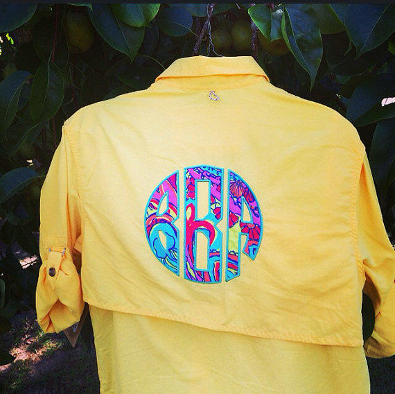 Monogrammed fishing shirt with lilly from tantrumembroidery on for Monogrammed fishing shirts