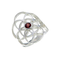 Sacred Geometry, Sterling Silver Seed of Life Ring with Garnet Gem
