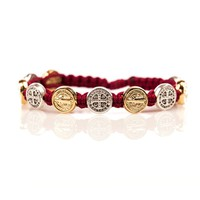 St. Benedictine Blessing Bracelet Merlot with Mixed Metal