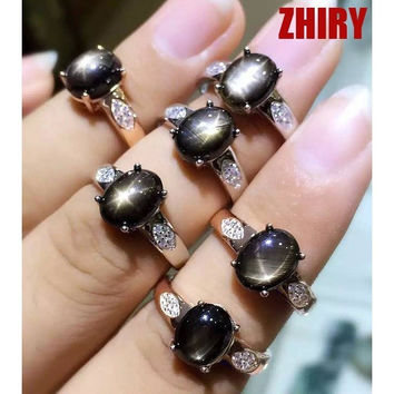 NATURAL SAPPHIRE GEM RING SIX STAR STONE GENUINE 925 STERLING SILVER GOLD PLATED WOMEN JEWELRY ENGAGEMENT RINGS WOMEN BIRTHSTONE