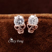 Free shipping New Trendy Women's/Girl's 18k Yellow Gold Filled CZ Diamond Skull Pierced Stud Earrings Jewelry Gift