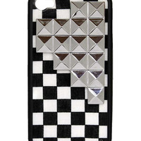 Checkered Silver Studded Pyramid iPhone 4/4s Case