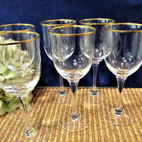 Crystal Wine Glasses Noritake Gold Trim Water Goblets Set of 6 blm