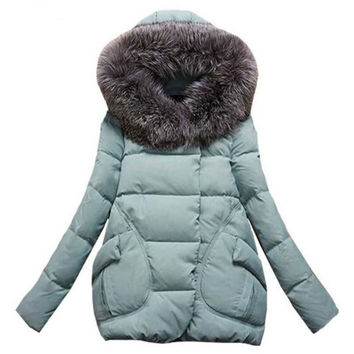 Winter Jacket Women Fur Hood Cotton Padded Coat Parkas For Women Winter Abrigos Mujer Jaqueta Feminina