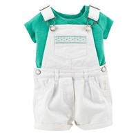 Carter's Tee & Twill Denim Shortalls Set - Baby Girl, Size: