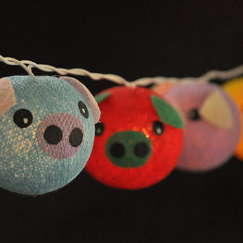 Cotton Ball String Lights Pig Planet Mixed Colour  for Kid birthday bedroom Light display garland