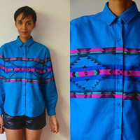 Vtg Southwest Tribal Print Blue LS Button Down Cotton Shirt