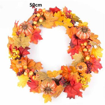 50cm Berry Fall Maple Leaves Wreath Garland Fake Artificial Flower Thanksgiving Day Home Autumn Fall Decoration Herfst Decoratie