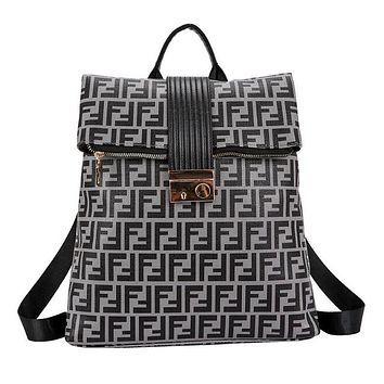 FENDI Trending Women Stylish Leather Backpack Daypack Rucksack Bookbag Dark Grey
