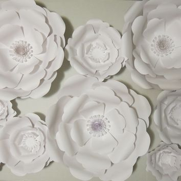 "set of 9 Giant Paper Flowers 6-16"" White Wedding Flower Wall photo backdrop set of 9 Rose Nursery decor Bridal shower flower arrangement modern birthday party"