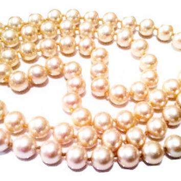 Marvella Pearls Necklace Matinee Long Beaded String Classic Vintage Jewelry