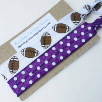 Purple hair tie and football hair tie set, elastic ponytail holders, team color, white with brown football, American football, football mom