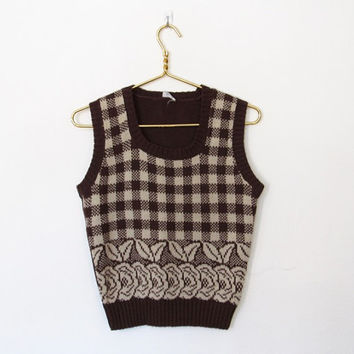 Vintage 1970s Brown & Creme Checkered / Floral Knit Sweater Vest / Sleeveless Pullover