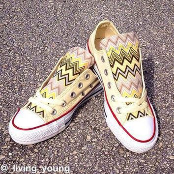 CREYUG7 Yellow Chevron Converse Low Top Sneakers Pastel Yellow Custom Chuck Taylors