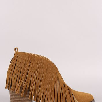Fringe Suede Pointy Toe Chunky Heeled Booties (b)