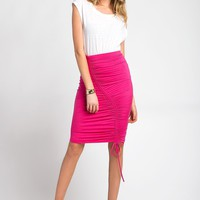 Ruched Hot Pink Midi Skirt