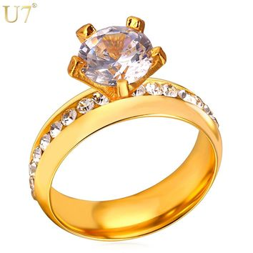 U7 Brand Fashion Engagement Rings For Women Jewelry Gold Color Stainless Steel Rhinestone Crystal Wedding Rings Gift R441