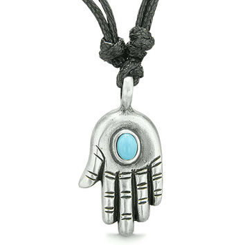 Amulet Evil Eye Reflection Hamsa Hand Sky Blue Accent Lucky Charm Pewter Pendant Necklace