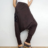 Modern Edgy Guacho Steampunk Drop Crotch Pants Grey Soft Cotton Blend Fabric (New-05).
