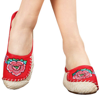 Old Beijing Cloth Embroidered Shoes Flax Sandals Slippers  red