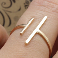14 k gold filled open uneven double bar band ring , geometric ring