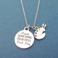 Create SOMETHING BEAUTIFUL Each Day, Paints, Palette, Silver, Necklace, Drawing, Painting, Painter, Gift, Jewelry