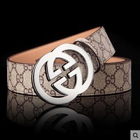 GUCCI Stylish Woman Men Metal Double G Smooth Buckle Belt Print Leather Belt Khaki Silver