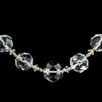 Art Deco Crystal Necklace Faceted Beads