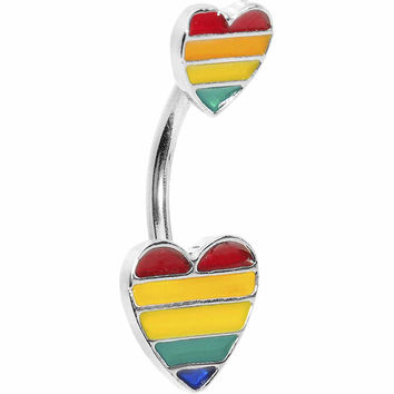 Double Rainbow Heart Belly Ring