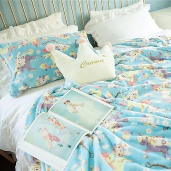 candice guo! Super cute plush toy lovely sweet unicorn Cinnamoroll pillowcase air-conditioning blanket girls birthday gift 1pc