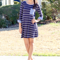 Cuff of Greatness Dress - Navy