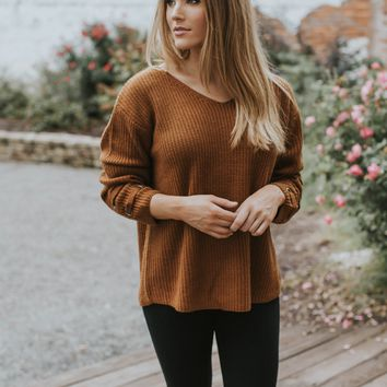 Wanderer Cable Knit Sweater, Rust