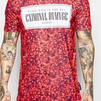Criminal Damage T-Shirt In Petal Print