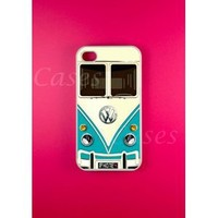 Iphone 4 4s Case, VW Minibus Teal iphone 4 4s cases, iPhone 4 4s Cover, Cool Pretty Rubber Protective Iphone 4 4s Cases