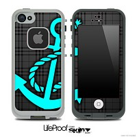 Dark Black Plaid Print and Turquoise Anchor Skin for the iPhone 5 or 4/4s LifeProof Case