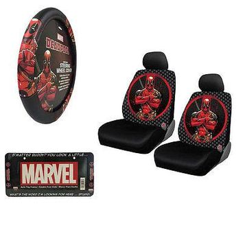 Licensed Official New DeadPool Car Truck Seat Covers Steering Wheel Cover & License Plate Frame