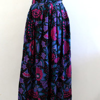Multi colored Maxi Floral Skirt/ X Small/ Small/ Long Skirt/ 80s/ Vintage