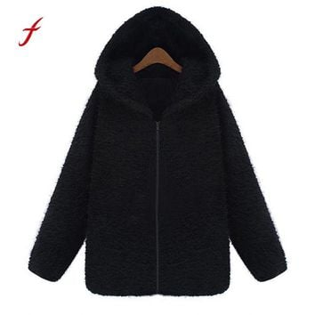 Feitong Brand New Warm Sweater Trendy Women Quality Fleece Thick Plus Hooded Coat Sweater Jacket cardigan poncho jumper
