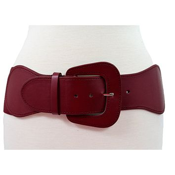 Retro Vintage Chunky Buckle Wine Red Elastic Wide Stretch Waist Belt